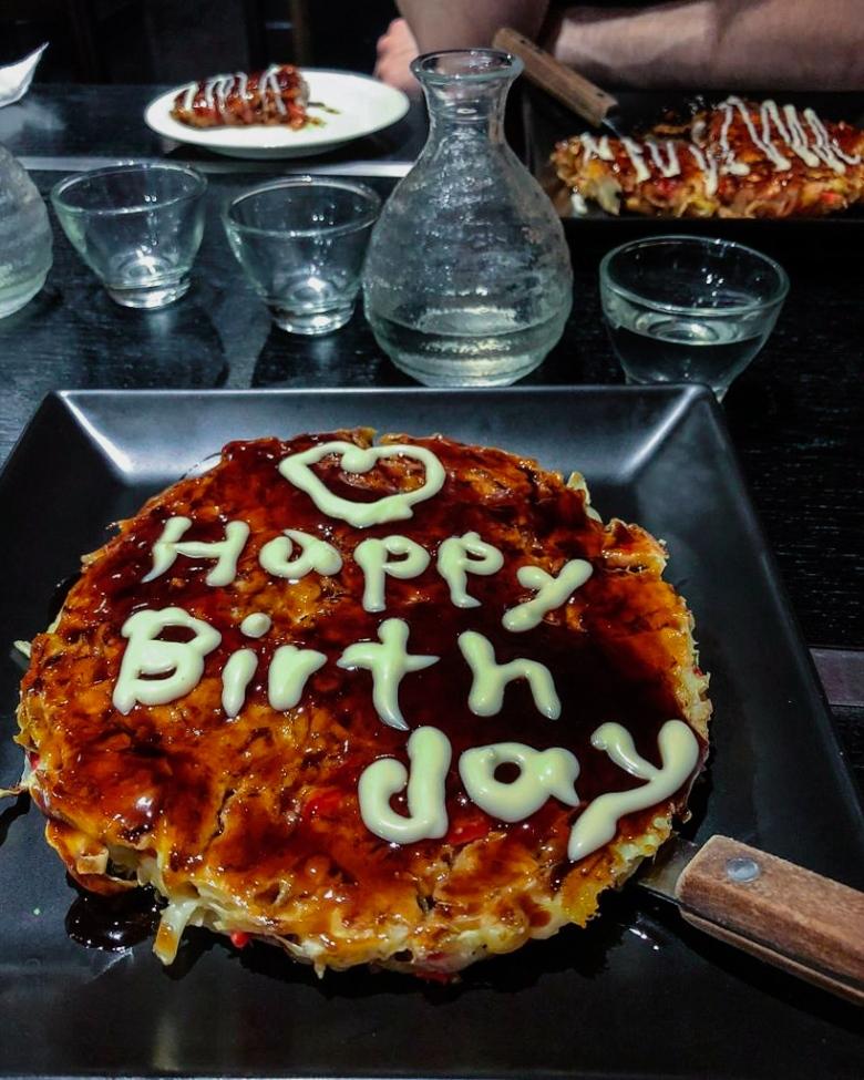 Okonomiyaki in Okonomiyaki Zen in Tokyo Japan